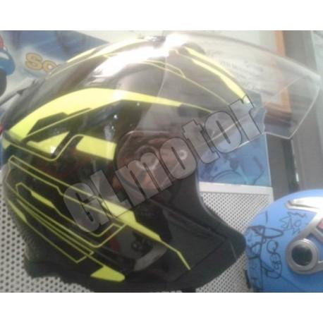 Bukósisak nyitott fekete / sárga MATRIX robogó – motor, beépített napszemüveg!