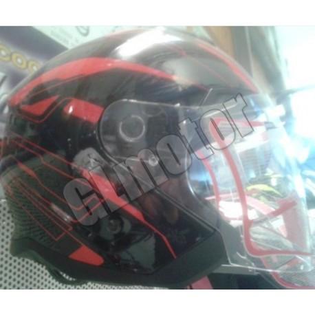 Bukósisak nyitott, fekete / piros MATRIX robogó - motor, beépített napszemüveg!