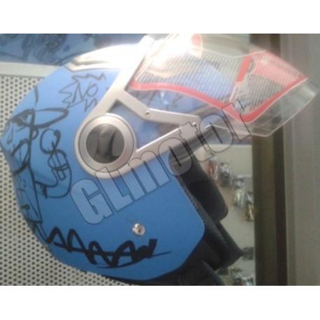 Bukósisak nyitott, matt kék GRAFFITI MATT BLUE robogó - motor, beépített napszemüveg!