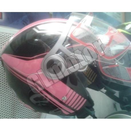 Bukósisak nyitott, fekete / rózsaszín PINK robogó és motor, beépített napszemüveg!